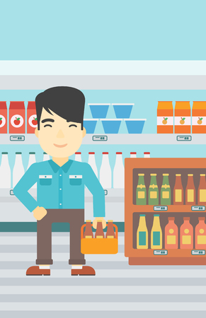 An asian man standing in alcohol store. Man holding pack of beer at supermarket. Man standing at alcohol section. Vector flat design illustration. Vertical layout. Illustration