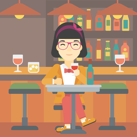 woman drinking wine: An asian woman sitting at the table with glass and bottle of wine. Woman drinking wine at bar. Woman enjoying a drink at wine bar. Vector flat design illustration. Square layout. Illustration