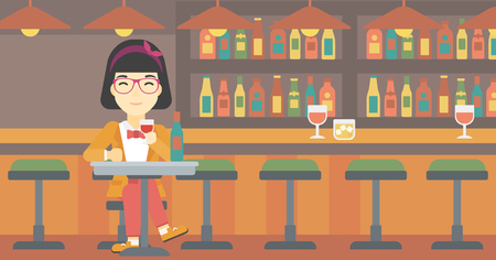 woman drinking wine: An asian woman sitting at the table with glass and bottle of wine. Woman drinking wine at bar. Woman enjoying a drink at wine bar. Vector flat design illustration. Horizontal layout.