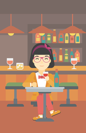 woman drinking wine: An asian woman sitting at the table with glass and bottle of wine. Woman drinking wine at bar. Woman enjoying a drink at wine bar. Vector flat design illustration. Vertical layout. Illustration