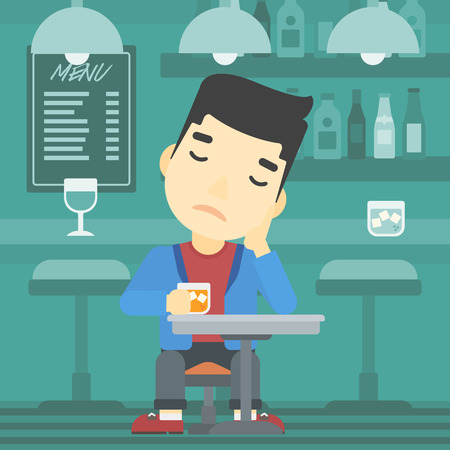 alcoholic beverage: An asian sad man sitting at the bar with glass of alcoholic beverage. Young man sitting alone at the bar and drinking alcohol. Vector flat design illustration. Square layout. Illustration