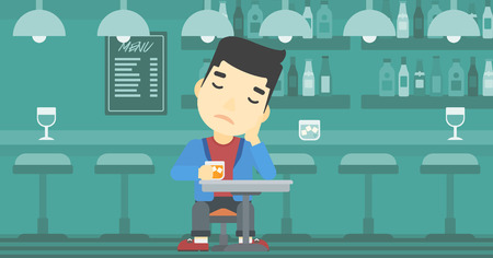 alcoholic beverage: An asian sad man sitting at the bar with glass of alcoholic beverage. Young man sitting alone at the bar and drinking alcohol. Vector flat design illustration. Horizontal layout.