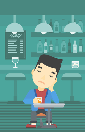 alcoholic beverage: An asian sad man sitting at the bar with glass of alcoholic beverage. Young man sitting alone at the bar and drinking alcohol. Vector flat design illustration. Vertical layout.