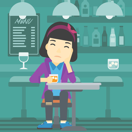 alcoholic beverage: An asian sad woman sitting at the bar with glass of alcoholic beverage. Young woman sitting alone at the bar and drinking alcohol. Vector flat design illustration. Square layout.