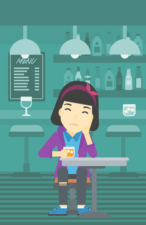 vertical bar: An asian sad woman sitting at the bar with glass of alcoholic beverage. Young woman sitting alone at the bar and drinking alcohol. Vector flat design illustration. Vertical layout. Illustration