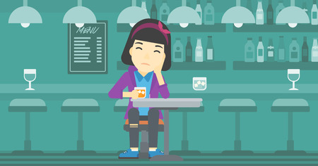 alcoholic beverage: An asian sad woman sitting at the bar with glass of alcoholic beverage. Young woman sitting alone at the bar and drinking alcohol. Vector flat design illustration. Horizontal layout.