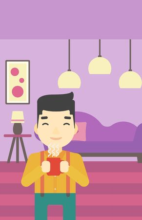 enjoying: An asian man drinking hot flavored coffee. Young smiling man with cup of coffee. Man enjoying coffee at home. Vector flat design illustration. Vertical layout. Illustration