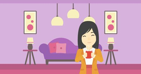 tasteful: An asian woman drinking hot flavored coffee. Young smiling woman with cup of delicious coffee. Woman enjoying fresh coffee at home. Vector flat design illustration. Horizontal layout.