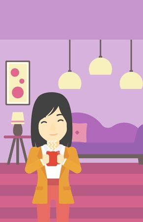 hot woman: An asian woman drinking hot flavored coffee. Young smiling woman with cup of delicious coffee. Woman enjoying fresh coffee at home. Vector flat design illustration. Vertical layout.
