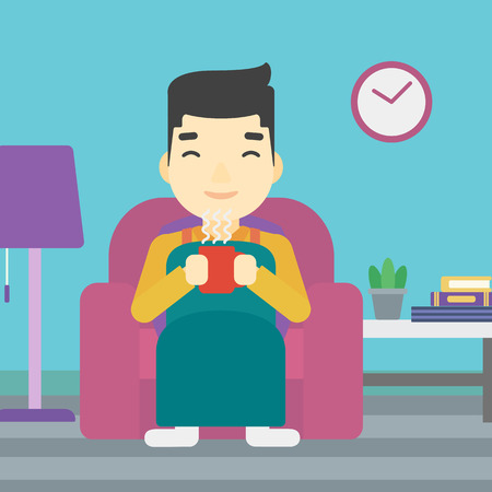flavored: An asian young man relaxing under blanket with cup of coffee. Man drinking coffee at home. Man holding cup of hot flavored coffee. Coffee lover. Vector flat design illustration. Square layout. Illustration