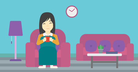 woman drinking coffee: An asian young woman relaxing under blanket with cup of coffee. Woman drinking coffee at home. Woman holding a cup of hot flavored coffee or tea. Vector flat design illustration. Horizontal layout.