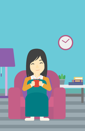 woman drinking coffee: An asian young woman relaxing under blanket with cup of coffee. Woman drinking coffee at home. Woman holding a cup of hot flavored coffee or tea. Vector flat design illustration. Vertical layout.