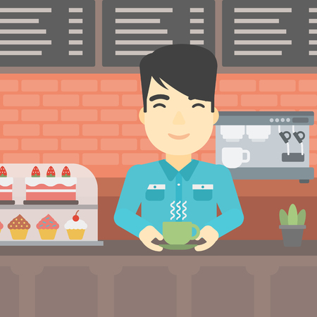 An asian young man standing at the counter with cup of coffee on the background of bakery with pastry and coffee maker. Man making coffee. Vector flat design illustration. Square layout. Çizim