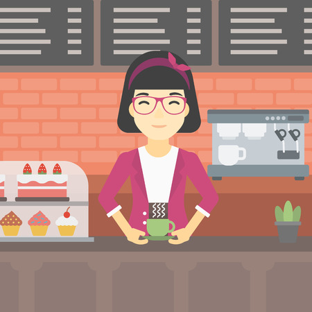 An asian young woman standing at the counter with cup of coffee on the background of bakery with pastry and coffee maker. Woman making coffee. Vector flat design illustration. Square layout. Illustration