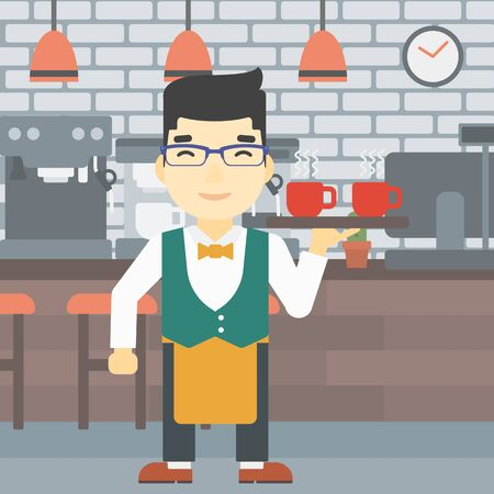 An asian young waiter holding a tray with cups of tea or coffee. Waiter with cups of coffee or tea at the bar. Vector flat design illustration. Square layout. 向量圖像