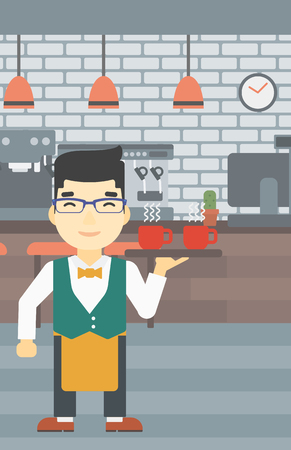 waiter tray: An asian young waiter holding a tray with cups of tea or coffee. Waiter with cups of coffee or tea at the bar. Vector flat design illustration. Vertical layout.
