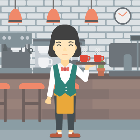 waiter tray: An asian young waitress holding a tray with cups of tea or coffee. Waiter with cups of coffee or tea at the bar. Vector flat design illustration. Square layout. Illustration