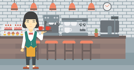 waiter tray: An asian young waitress holding a tray with cups of tea or coffee. Waiter with cups of coffee or tea at the bar. Vector flat design illustration. Horizontal layout.