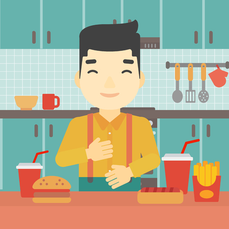 Smiling man with eyes closed touching his tummy. Satisfied man had the best ingestion. Man standing in front of table with fast food in the kitchen. Vector flat design illustration. Square layout.