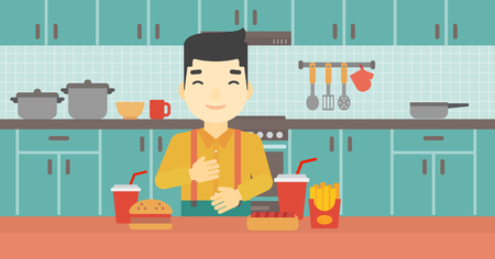 ingestion: Smiling man with eyes closed touching his tummy. Satisfied man had the best ingestion. Man standing in front of table with fast food in the kitchen. Vector flat design illustration. Horizontal layout.