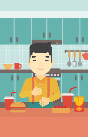ingestion: Smiling man with eyes closed touching his tummy. Satisfied man had the best ingestion. Man standing in front of table with fast food in the kitchen. Vector flat design illustration. Vertical layout.