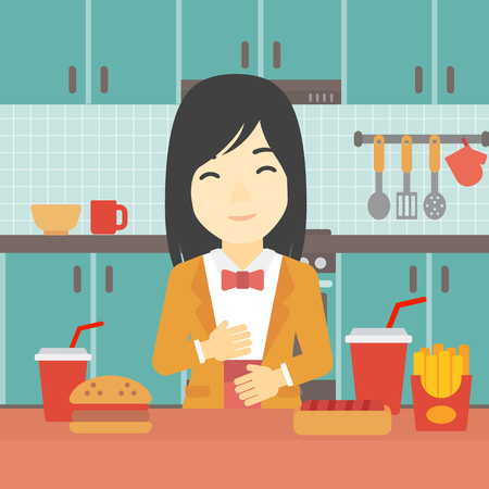 satisfied: Young woman with eyes closed touching her tummy. Satisfied woman had the best ingestion. Woman standing in front of table with fast food in the kitchen. Vector flat design illustration. Square layout.