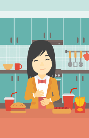 ingestion: Young woman with eyes closed touching her tummy. Satisfied woman had the best ingestion. Woman standing in front of table with fast food in the kitchen. Vector flat design illustration. Vertical layout.