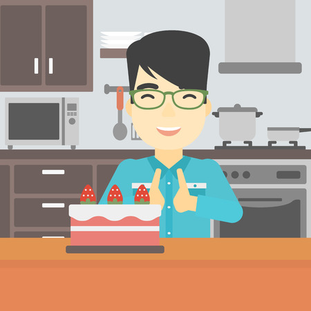 poor diet: An asian happy man looking with passion at a big cake. An excited man standing in front of cake in the kitchen. Man craving delicious cake. Vector flat design illustration. Square layout.