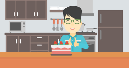 poor diet: An asian happy man looking with passion at a big cake. An excited man standing in front of cake in the kitchen. Man craving delicious cake. Vector flat design illustration. Horizontal layout. Illustration