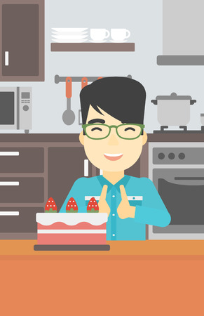 poor diet: An asian happy man looking with passion at a big cake. An excited man standing in front of cake in the kitchen. Man craving delicious cake. Vector flat design illustration. Vertical layout.
