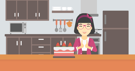 poor diet: An asian happy woman looking with passion at a big cake. An excited woman standing in front of cake in the kitchen. Woman craving delicious cake. Vector flat design illustration. Horizontal layout.