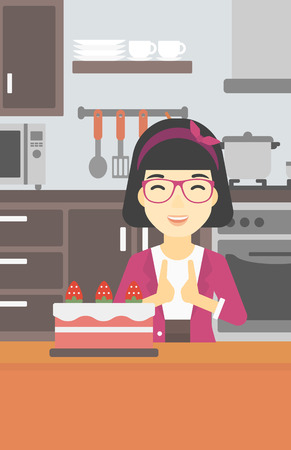 crave: An asian happy woman looking with passion at a big cake. An excited woman standing in front of cake in the kitchen. Woman craving delicious cake. Vector flat design illustration. Vertical layout. Illustration