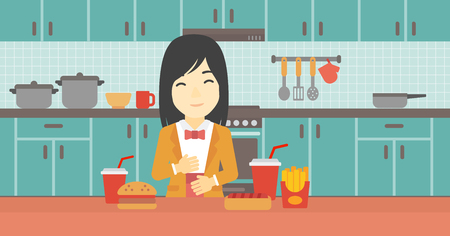 ingestion: Young woman with eyes closed touching her tummy. Satisfied woman had the best ingestion. Woman standing in front of table with fast food in the kitchen. Vector flat design illustration. Horizontal layout.