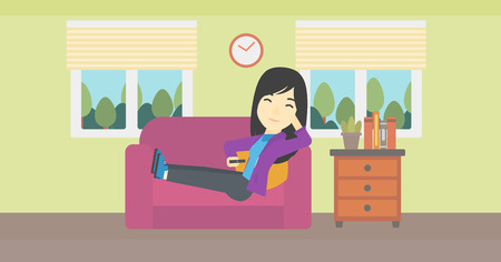 lady clock: An asian young woman lying on a sofa and watching tv with a remote control in his hand. Vector flat design illustration. Horizontal layout. Illustration