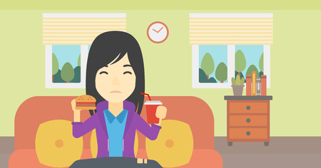 living room design: An asian young woman sitting on a sofa while eating hamburger and drinking soda on the background of living room. Vector flat design illustration. Horizontal layout.