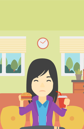 lunch room: An asian young woman sitting on a sofa while eating hamburger and drinking soda on the background of living room. Vector flat design illustration. Vertical layout.