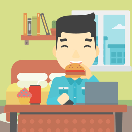asian man laptop: An asian young man working on laptop while eating junk food on the background of bedroom. Vector flat design illustration. Square layout.