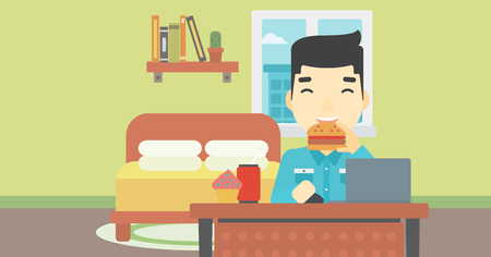 asian man laptop: An asian young man working on laptop while eating junk food on the background of bedroom. Vector flat design illustration. Horizontal layout.