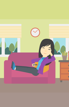 woman watching tv: An asian young woman lying on a sofa and watching tv with a remote control in his hand. Vector flat design illustration. Vertical layout. Illustration