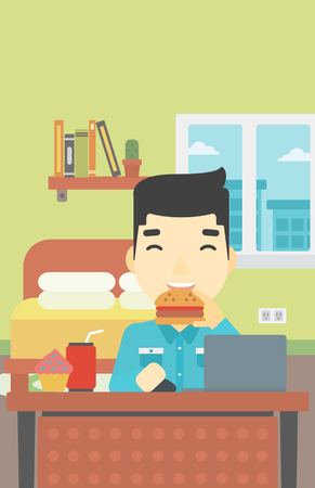 asian man laptop: An asian young man working on laptop while eating junk food on the background of bedroom. Vector flat design illustration. Vertical layout.