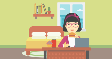lunch room: An asian young woman working on laptop while eating junk food on the background of bedroom. Vector flat design illustration. Horizontal layout.