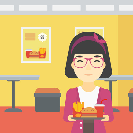 lunch tray: An asian woman holding tray full of junk food on a cafe background. Smiling woman in fast food restaurant. Woman having lunch in fast food restaurant. Vector flat design illustration. Square layout. Illustration