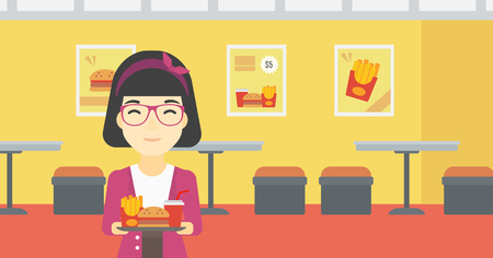 An asian woman holding tray full of junk food on a cafe background. Smiling woman in fast food restaurant. Woman having lunch in fast food restaurant. Vector flat design illustration. Horizontal layout.