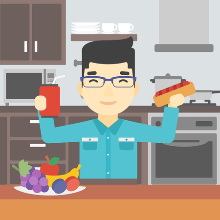 An asian man eating fast food. Man holding fast food in hands in the kitchen. Man choosing between fast food and healthy food. Vector flat design illustration. Square layout.