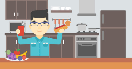 An asian man eating fast food. Man holding fast food in hands in the kitchen. Man choosing between fast food and healthy food. Vector flat design illustration. Horizontal layout. Ilustração
