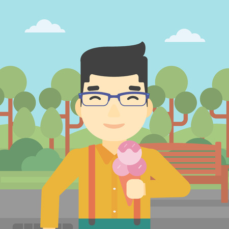 cornet: An asian young man eating a big ice cream. Happy man holding an ice cream in hand. Man enjoying an ice cream at park. Vector flat design illustration. Square layout.
