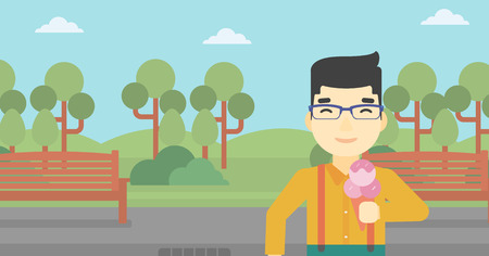 cornet: An asian young man eating a big ice cream. Happy man holding an ice cream in hand. Man enjoying an ice cream at park. Vector flat design illustration. Horizontal layout.