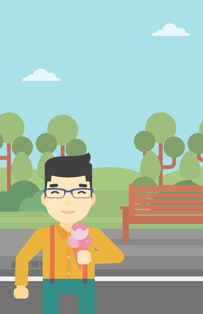 cornet: An asian young man eating a big ice cream. Happy man holding an ice cream in hand. Man enjoying an ice cream at park. Vector flat design illustration. Vertical layout. Illustration