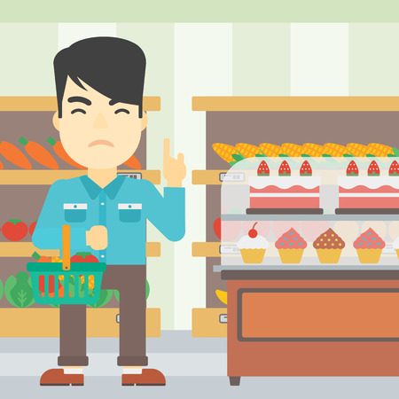 rejecting: An asian young man holding basket full of healthy food and refusing junk food. Man rejecting junk food in supermarket. Man choosing healthy food. Vector flat design illustration. Square layout.