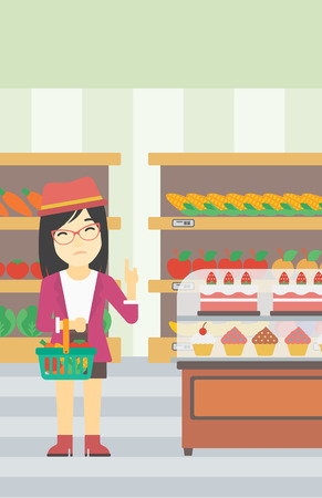 refusing: An asian young woman holding basket with healthy food and refusing junk food. Woman choosing healthy food and rejecting junk food in supermarket. Vector flat design illustration. Vertical layout.